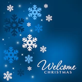 Niebieskie tło wakacje z płatki śniegu na boże narodzenie.
