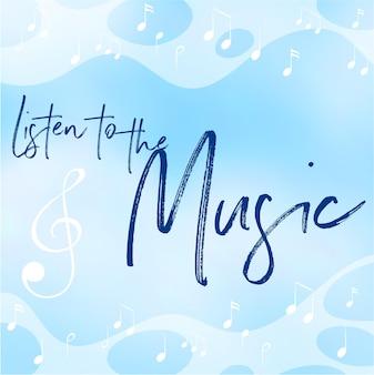 Niebieskie tło z frazą słuchaj muzyki