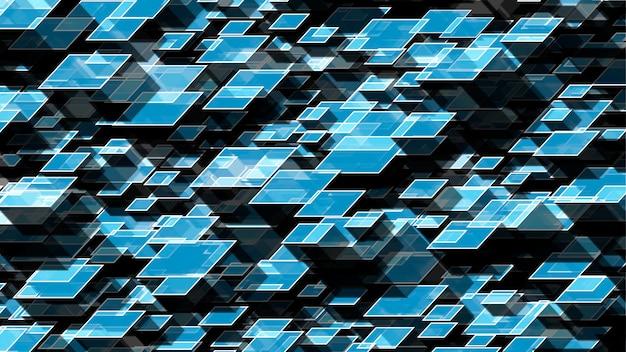 Niebieskie tło z geometrycznymi kostkami