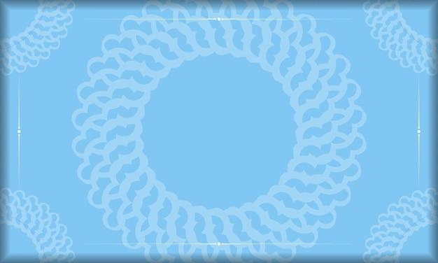 Niebieskie tło z luksusowymi białymi ornamentami do projektowania logo lub tekstu