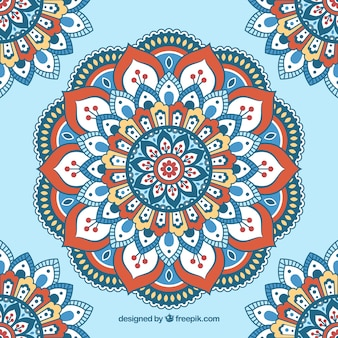 Niebieskie tło z płaskim mandali