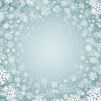 Niebieskie tło z płatki śniegu