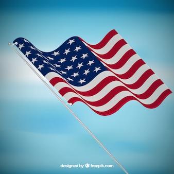 Niebieskie tło z realistycznym flaga stanów zjednoczonych