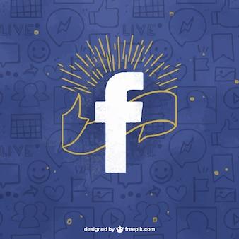 Niebieskie tło z rysunkami facebook