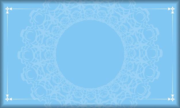 Niebieskie tło z vintage białym wzorem i miejscem na tekst