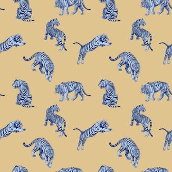 Niebieskie tygrysy nordyckie bez szwu wektor wzór