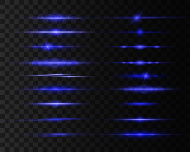 Niebieskie wiązki laserowe, rozbłysk światła.