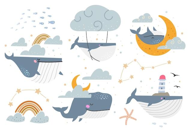 Niebieskie wieloryby wektor zestaw. zbiór różnych ilustracji fantasy z wielorybami.