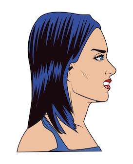 Niebieskie włosy kobiety popart