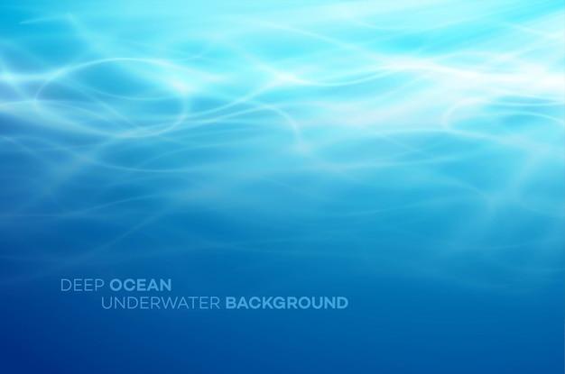 Niebieskie wody głębinowe i morze streszczenie naturalne tło.