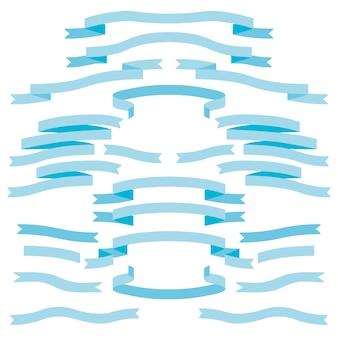 Niebieskie wstążki banerowe na białym tle wektor