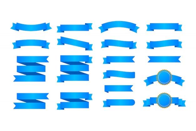 Niebieskie wstążki banery. zestaw wstążek.