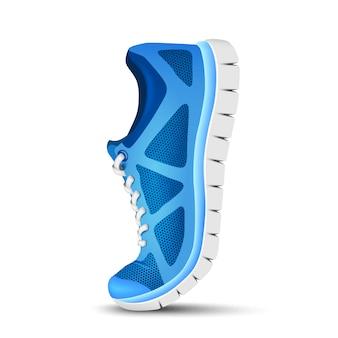 Niebieskie zakrzywione buty sportowe do biegania.