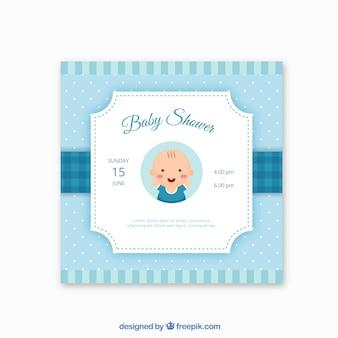 Niebieskie zaproszenie baby shower