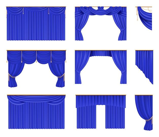 Niebieskie zasłony zestaw ilustracji