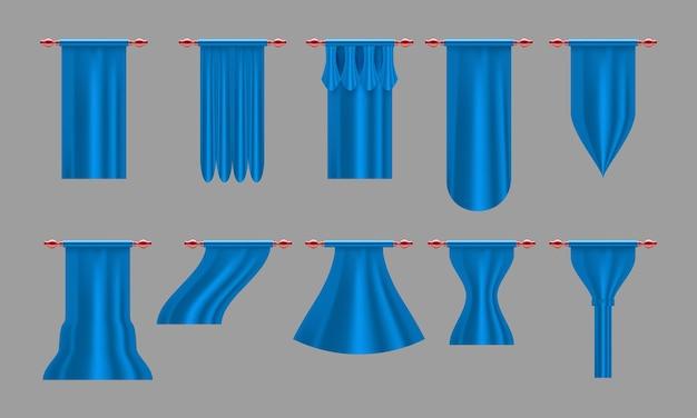 Niebieskie zasłony. zestaw realistyczna luksusowa zasłona gzyms wystrój domowa tkanina wnętrze draperia tekstylna lambrekin, ilustracja wektorowa zestaw zasłon