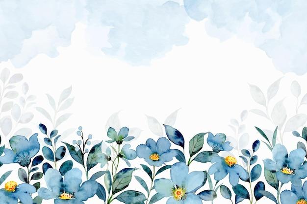 Niebieskie zielone tło kwiatowy z akwarelą