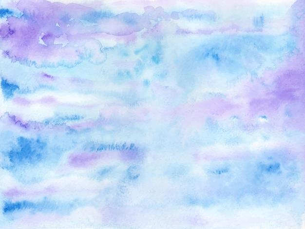 Niebieskie zimowe niebo akwarela tekstury tła