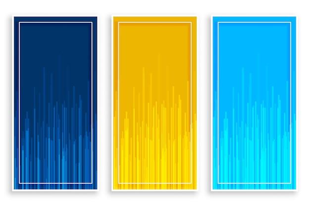 Niebieskie żółte pionowe banery z ustawionymi liniami