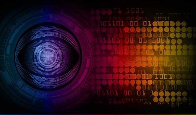 Niebieskiego czerwonego oka cyber obwodu technologii pojęcia przyszłościowy tło