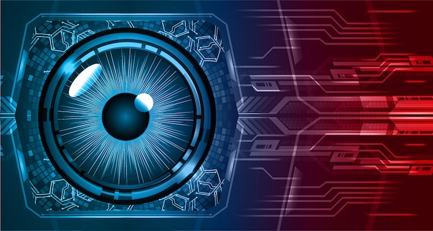 Niebieskiego czerwonego oka cyber obwodu technologii przyszłościowy tło