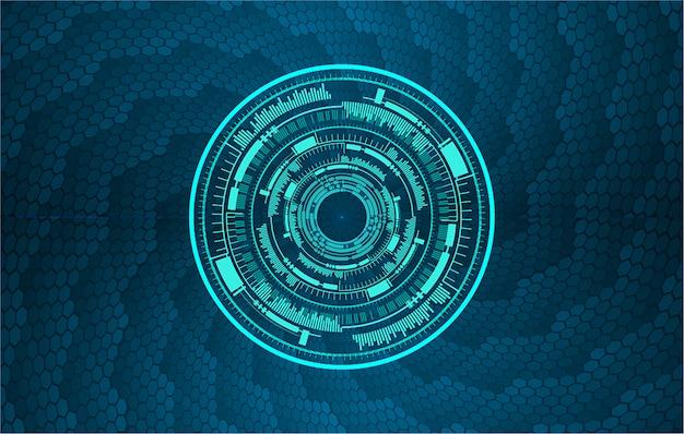 Niebieskiego oka cyber obwodu technologii pojęcia przyszłościowy tło