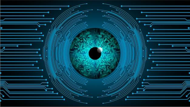 Niebieskiego oka cyber obwodu technologii przyszłościowy tło