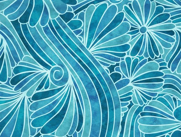 Niebieskim tle kwiatów