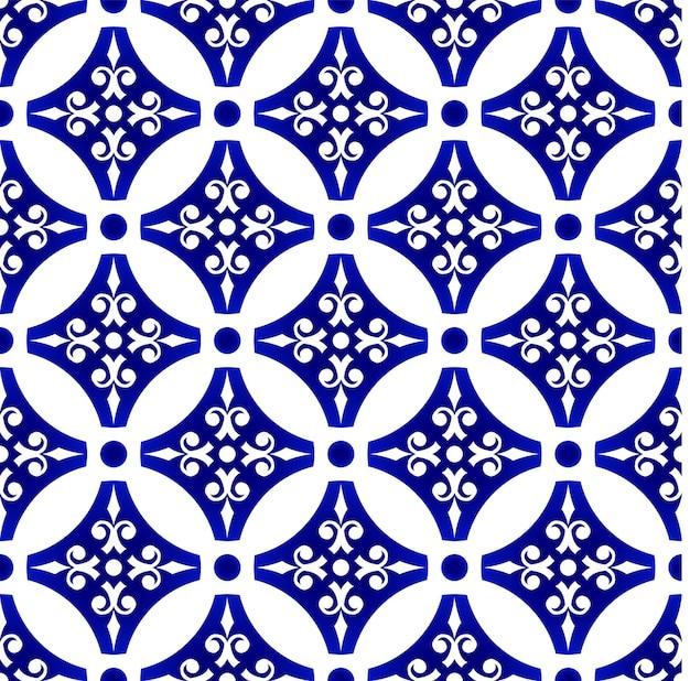 Niebiesko-biała bezszwowa tapeta