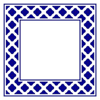 Niebiesko-biała Ceramiczna Kwadratowa Rama Dekoracyjna Premium Wektorów