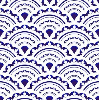 Niebiesko-biała porcelana bez szwu, islam, arabski, indyjski, otomana, niekończący się wzór