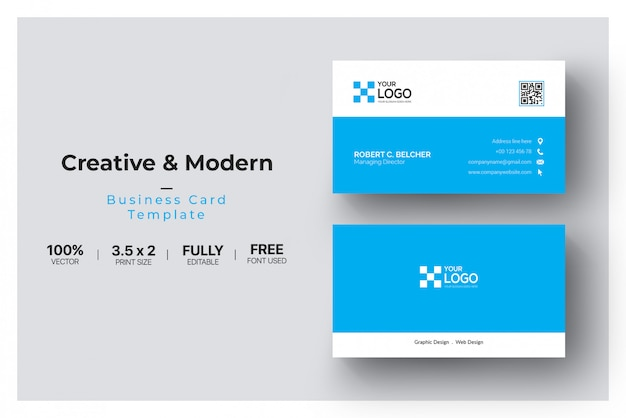 Niebiesko-biała wizytówka