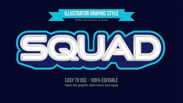 Niebiesko-białe nowoczesne logo e-sportowe do gier efekt tekstowy do edycji