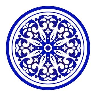Niebiesko-białe okrągłe ozdobne
