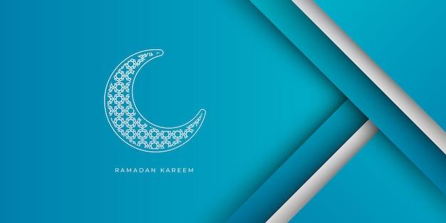 Niebiesko-białe tło ramadanu z dekoracją półksiężyca. ramadan kareem islamski szablon transparentu z kopią miejsca w tle