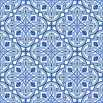 Niebiesko-biały adamaszkowy kwiatowy wzór