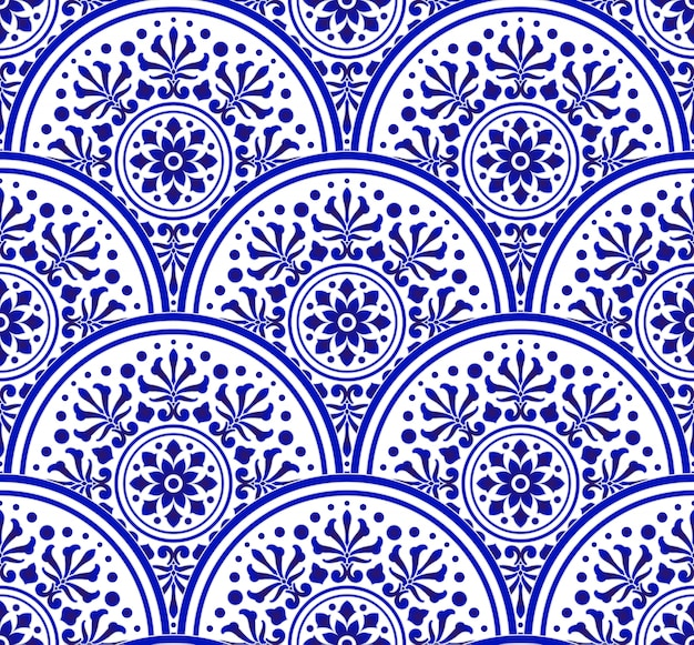 Niebiesko-biały chiński wzór w stylu patchworkowej skali, abstrakcyjny kwiatowy mandali indygo dekoracyjnej dla twojego elementu projektu, ceramiczna porcelanowa tapeta adamaszkowa