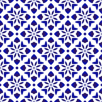 Niebiesko-biały wzór kwiatowy
