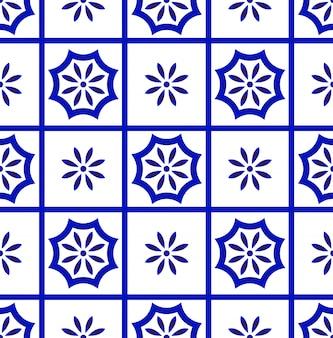 Niebiesko-biały wzór płytki