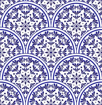 Niebiesko-biały wzór porcelany