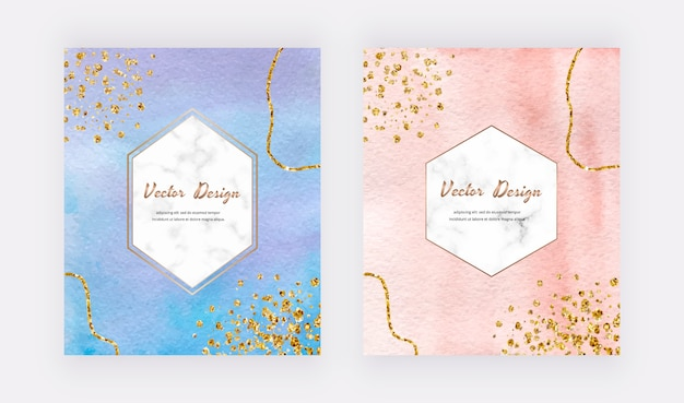 Niebiesko-brzoskwiniowe karty akwarelowe z fakturą złotego brokatu, konfetti i geometrycznymi marmurowymi ramkami.