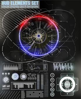 Niebiesko-czerwona futurystyczna ramka w tle w nowoczesnym stylu hud.