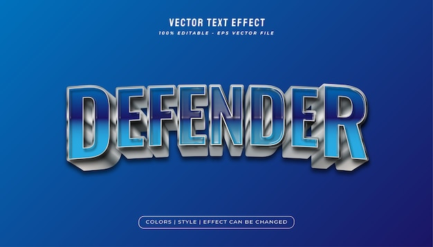 Niebiesko-metalowy e sportowy styl tekstu z realistyczną fakturą plastiku i wytłoczonym efektem