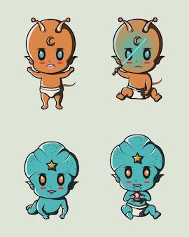 Niebiesko-pomarańczowe słodkie obce dziecko na logo, naklejkę, ikonę tła i plakat