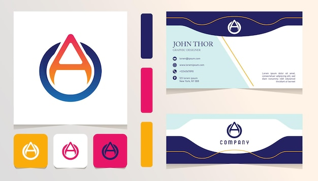 Niebiesko-pomarańczowo-czerwona litera logo gradientu, baner, szablon zestawu kart biznesowych