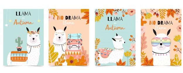 Niebiesko-pomarańczowy ręcznie rysowane słodkie karty z lamy, kaktus, okulary, kwiat. bez lamy dramatu