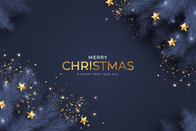 Niebiesko-złota kartka wesołych świąt i nowego roku z realistyczną dekoracją