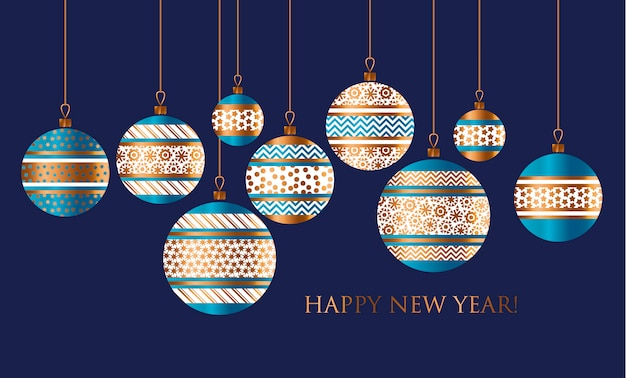 Niebiesko-złoty świąteczny cacko wystrój stylizowany wzór karty, zaproszenia, pozdrowienia