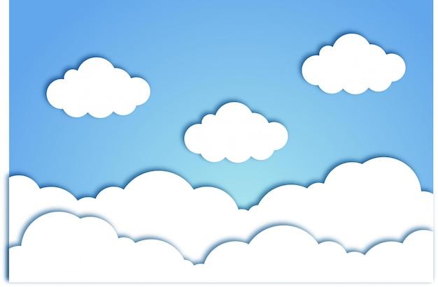 Niebo chmura papercut tło