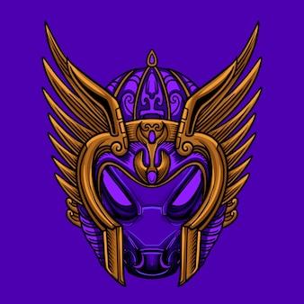 Niebo fioletowy wojownik maska wektor